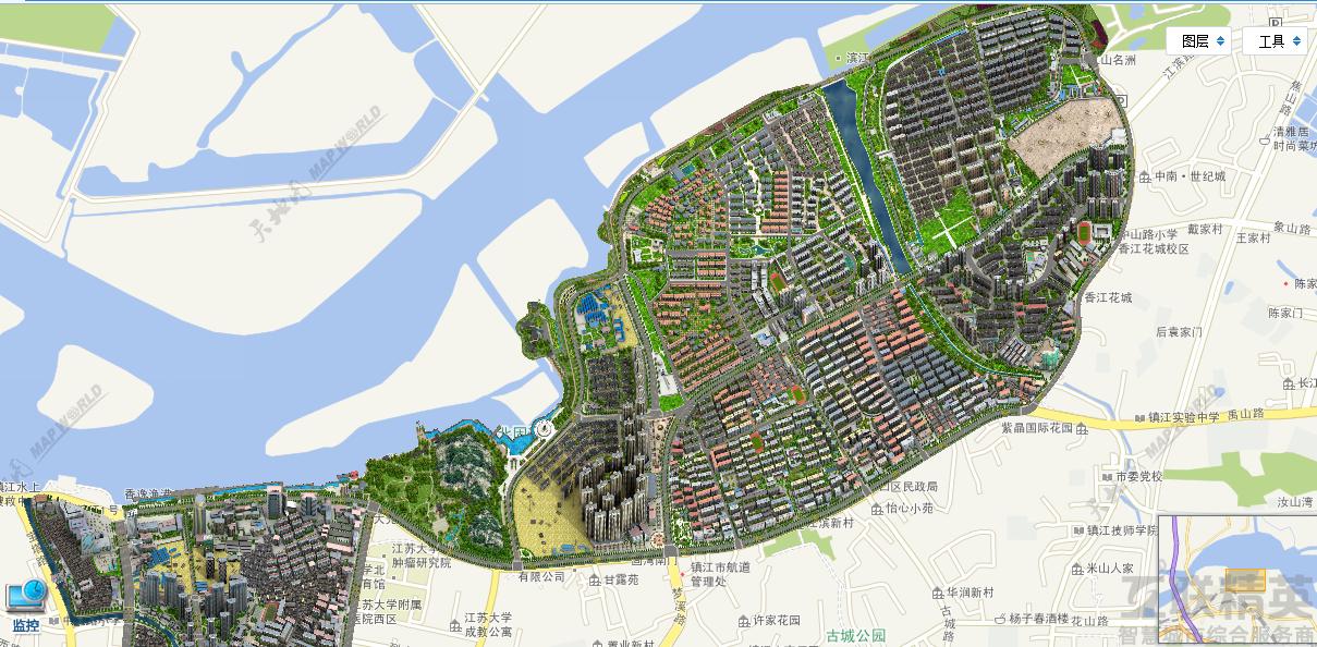 市京口区四牌楼街道办事处共同推出智慧社区网格化信息平台三维地图.
